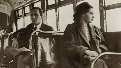 Rosa Parks rides a Greyhound bus in Montgomery. (contributed)