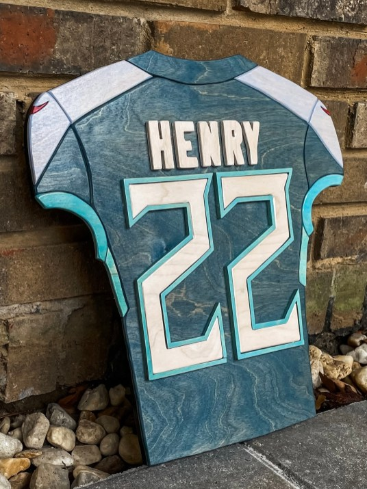 This is the 3D woodcut Derrick Henry jersey that the NFL star bought. (contributed)