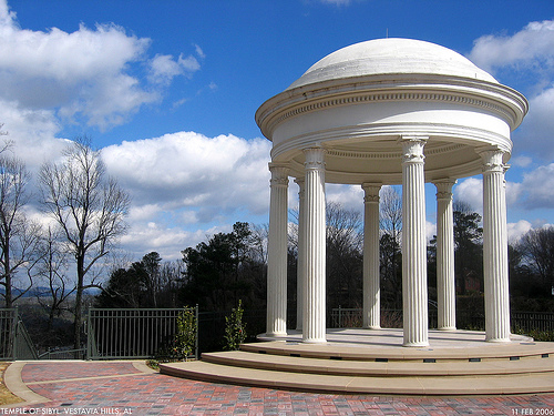 The Temple of Sibyl, originally a gazebo on George Ward's Vestavia estate, remains a popular roadside attraction and overlook. (Bham Wiki)