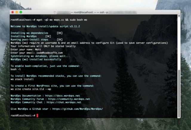 Yep, WordOps is now installed!
