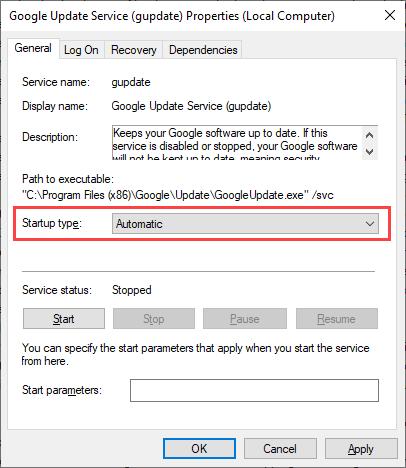 06 Re configure Google Update Service