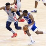 Jun 2, 2021; Philadelphia, Pennsylvania, USA; Philadelphia 76ers guard Shake Milton (18) dribbles the ball against Washington Wizards forward Rui Hachimura (8) during the second quarter in game five of the first round of the 2021 NBA Playoffs at Wells Fargo Center. Mandatory Credit: Bill Streicher-USA TODAY Sports
