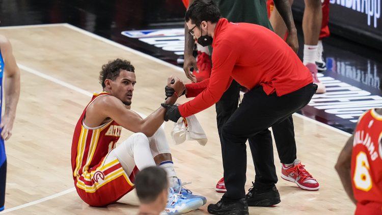 trae young injury, nba playoffs