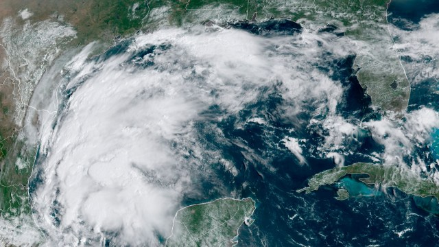 This satellite image provided by NOAA shows Tropical Storm Nicholas in the Gulf of Mexico on Sunday