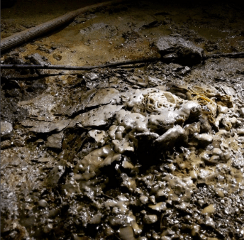 Weird stalactmite patch beneath a ceiling drip in the old Subway Tunnel. Hard, crystalline and little bit Lovecraftian.