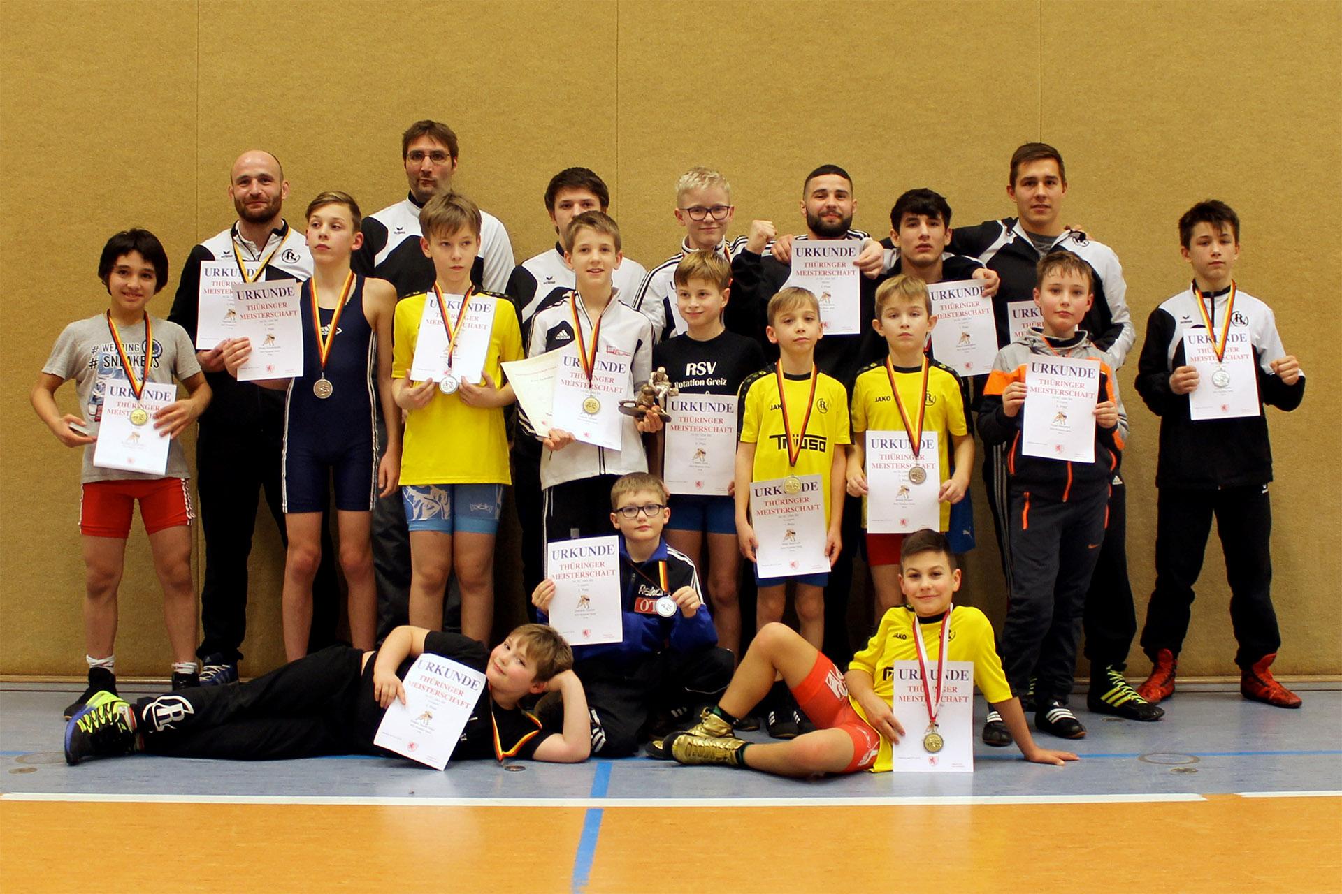 RSV Rotation Greiz: 16 Medaillengewinne bei Thüringer Meisterschaften für Greizer Ringer
