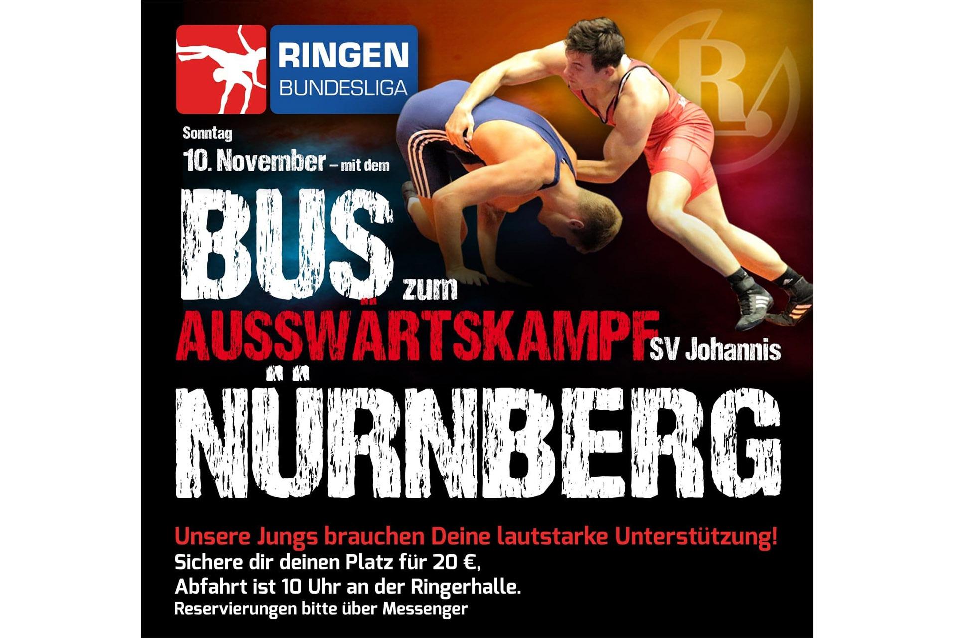 Bus zum Auswärtskampf SV Johannis Nürnberg gege RSV Rotation Greiz