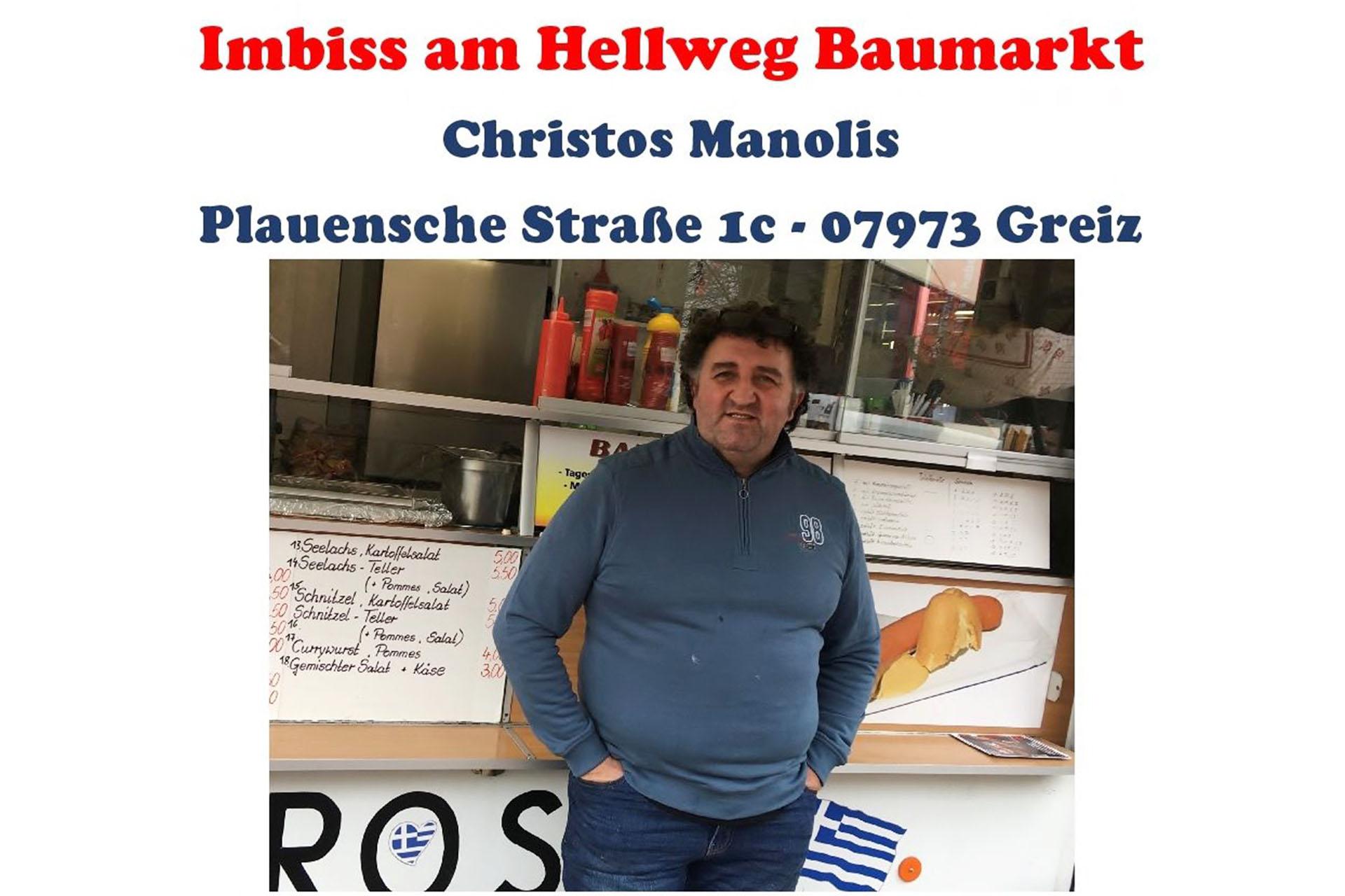 Christos Manolis - Inhaber des Imbiss am Hellweg Baumarkt in Greiz - unterstützt nun unsere Vereinsarbeit.