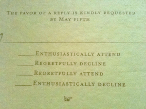 The Realist's Wedding RSVP