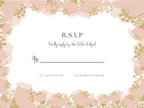 Pink and gold floral wedding RSVP response card
