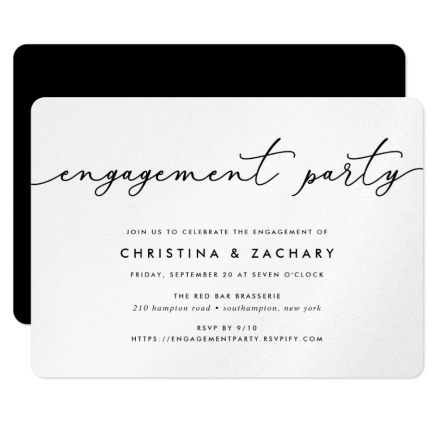 """Example of engagement party paper invitation. Black and white calligraphy engagement invitation. """"Join us to celebrate the engagement of Christina & Zachary""""."""