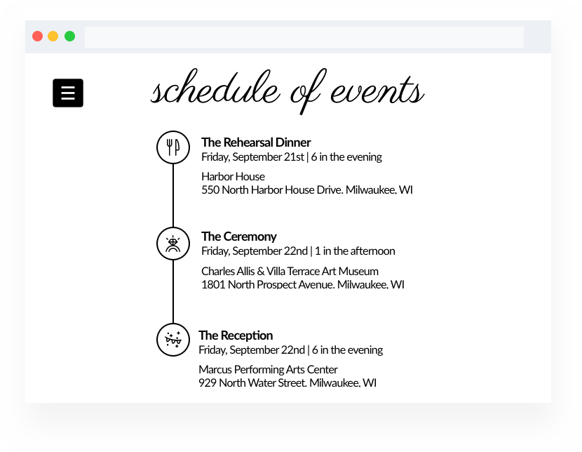 Wedding Website Builder Schedule of Events Page Example. Schedule includes rehearsal dinner, ceremony and wedding reception.
