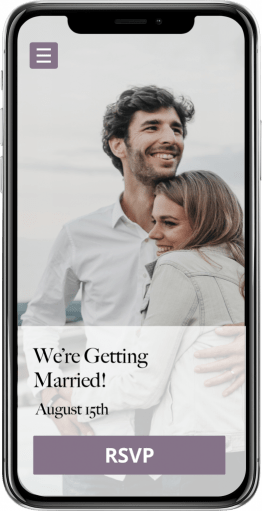"""Example of wedding website builder displayed on iPhone with RSVP button. Text reads """"We're Getting Married!""""."""