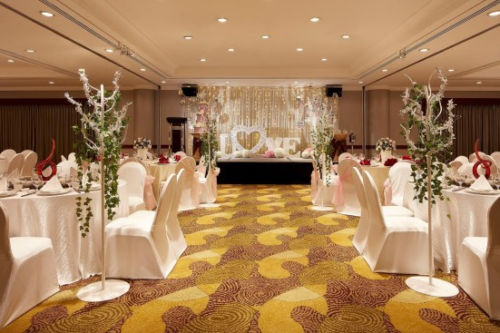 Holiday Inn Singapore ballroom decorated for wedding