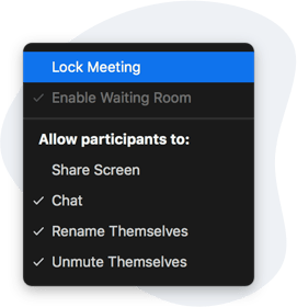 Settings allow Zoom meeting hosts to lock the meeting and prevent additional attendees from joining.