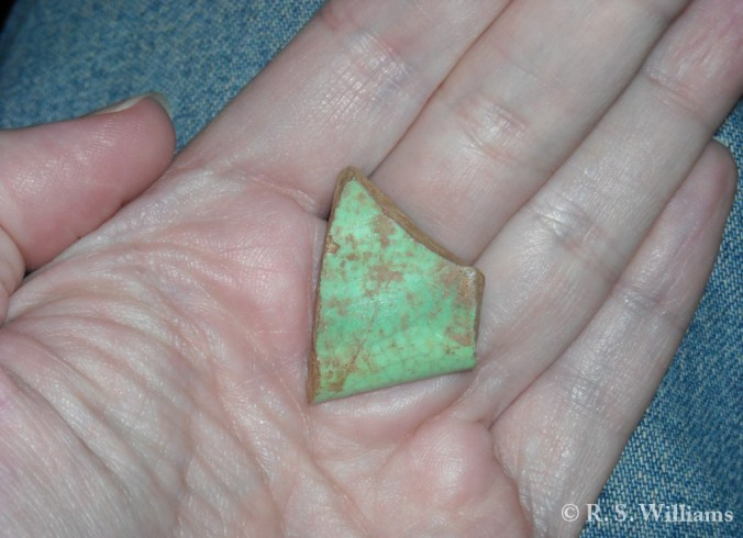 Green Dish Fragment Found at UWG in Feb 2012 (21 June 2012)