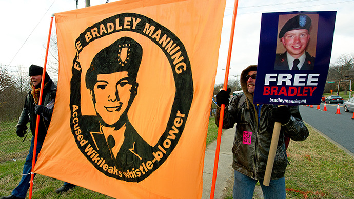 Protesters carry signs in support of US Army Private First Class Bradley Manning. (AFP Photo / Paul J. Richards)