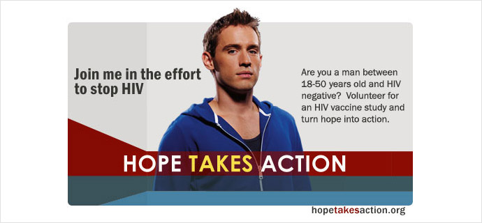 The HVTN 505 study appealing for HIV negative volunteers to participate in the now defunct 'Phase 3' of its investigation. Image from www.hopetakesaction.org