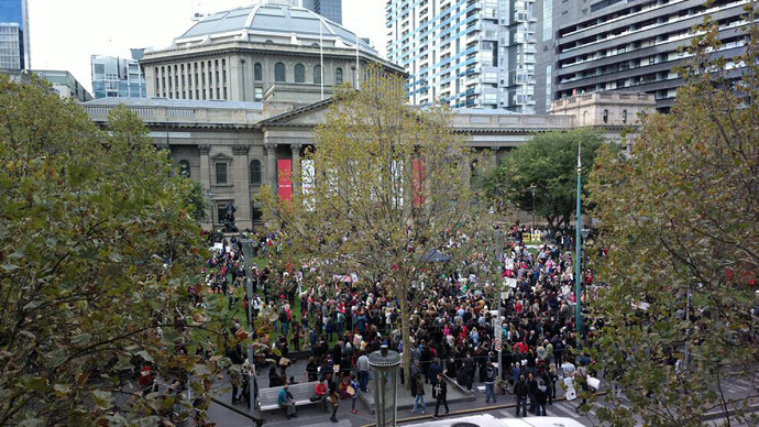 The march against Monsanto in Melbourne, May 25, 2013. (Image from twitter user@conoilseed)