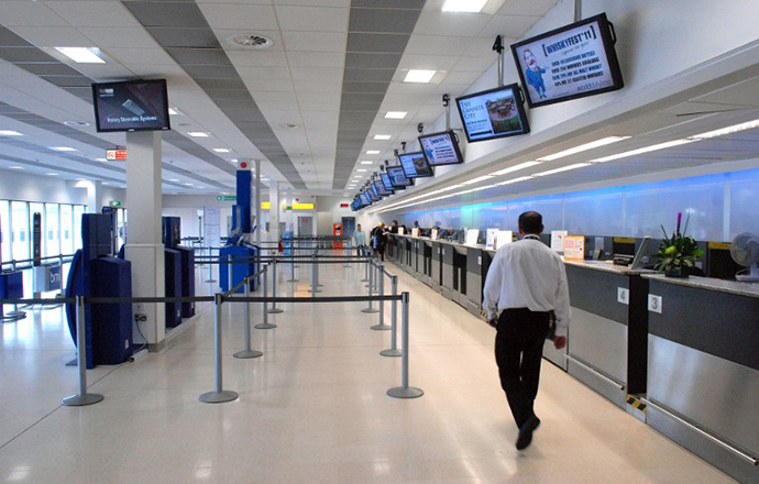 A flight check-in area is pictured at Aberdeen Airport in Scotland, where 3 CIA Rendition flights allegedly landed. (AFP Photo / Scott Campbell)