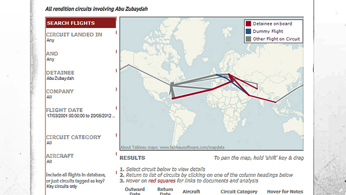 A screenshot from the new database which lets users track flights by data, detainee, and location. Image from therenditionproject.org.uk