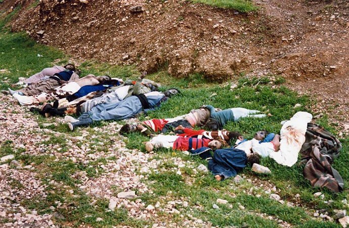A handout file picture dated March 16, 1988 and released by the Iranian official news agency IRNA shows Kurdish adults and children lying dead following an Iraqi chemical attack on the Kurdish city of Halabja in northeastern Iraq. (AFP Photo)