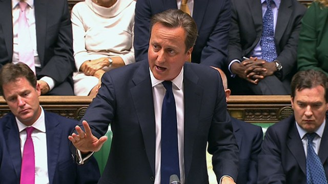 Britain's Prime Minister David Cameron is seen addressing the House of Commons in this still image taken from video in London August 29, 2013. (Reuters)