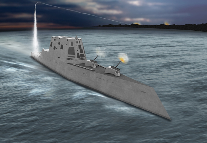 Concept view of the USS Zumwalt class destroyer (DDG-1000), image from http://peoships.crane.navy.mil