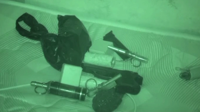 Grenades and other weapons seized in the raid. Image courtesy of the Interior Ministry.
