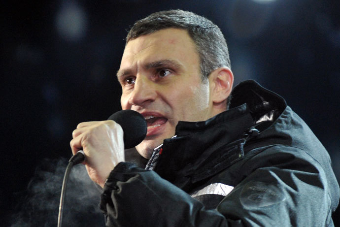 Vitaly Klitschko speaking in central Kiev, January 25, 2014.(AFP Photo / Genya Savilov)