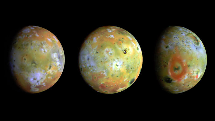 Io is the most volcanically active body in the solar system. At 2,263 miles in diameter, it is slightly larger than Earth's moon (Image courtesy of NASA/JPL/University of Arizona)