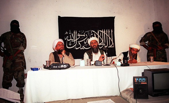 This undated file photo shows Saudi dissident Osama bin Laden (C), with two unidentified associates in an undisclosed place inside Afghanistan. (AFP Photo)