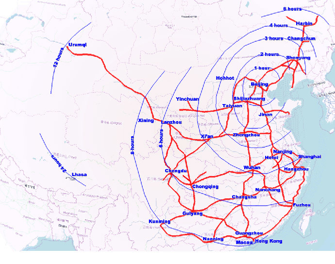 The expansive high-speed train network in China. Image from wikipedia.org