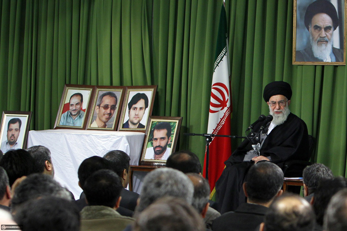 A handout photo provided by the office of Iran's supreme leader Ayatollah Ali Khamenei shows him speaking during a meeting with local nuclear scientists in Tehran on February 22, 2012 (AFP Photo / HO)