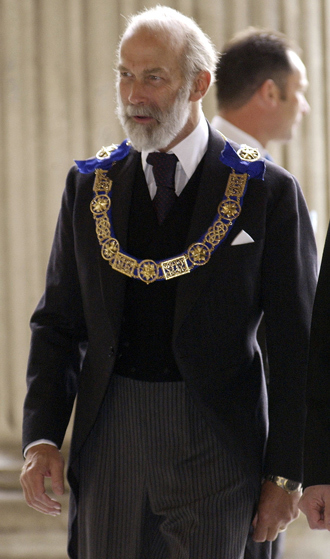 Britain's Prince Michael of Kent, Provincial Grand Master for Middlesex and Grand Master for The Mark Mason (an additional order of masonry) arrives at St Paul's Cathedral in central London, June 18, 2002 (Reuters)