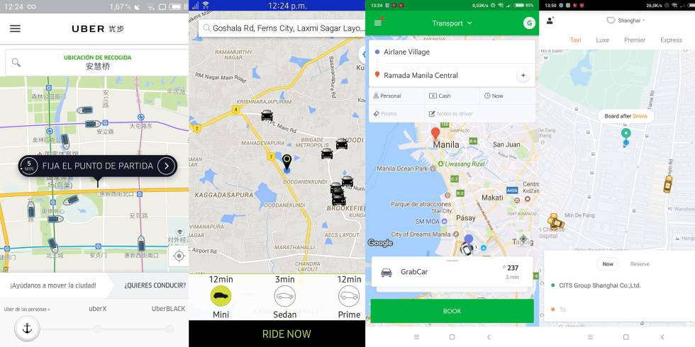 Collage hecho con capturas de pantalla de Uber (en un momento en el que cambió el símbolo de los coches por barcas porque Pekín se estaba inundando), Ola, Grab y Didi.