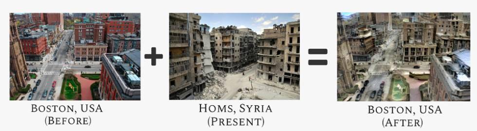 Ejemplo de cómo se ha transformado la imagen de la ciudad de Boston (EE UU) a partir de otra de Homs (Siria).