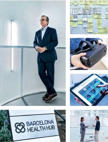Arriba, Luis Badrinas, CEO de Barcelona Health Hub. Debajo, el logotipo de inspiración modernista.