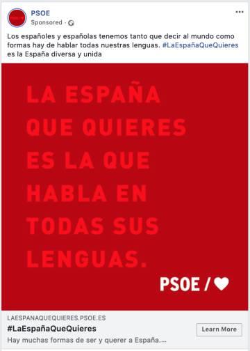 Captura de pantalla de un anuncio del PSOE en redes sociales.