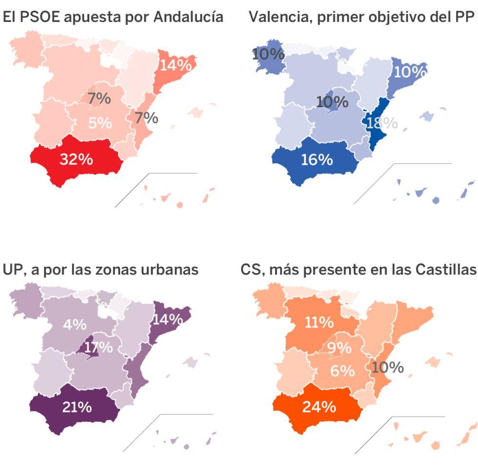 Inversión de los partidos en Facebook dividida en zonas