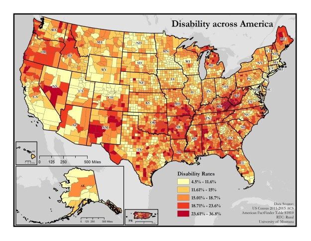 Map of disability rates by county