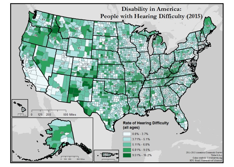 This is a map of the United States which depicts rates of hearing difficulty by county.