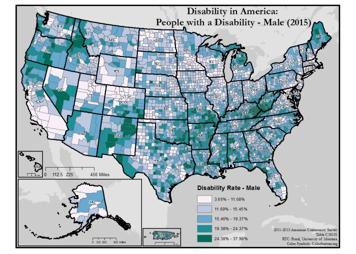 This is a map of the United States which shows disability rates among males by county.