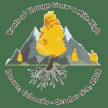 APRIL 2018 conference logo: Roots of Change Grow a Mile High. Denver, Colorado, October 5-8, 2018.