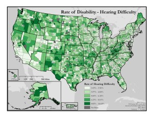This is a map of the United States which depicts rates of hearing difficulty by county. A text description of this map is included in the webpage content.