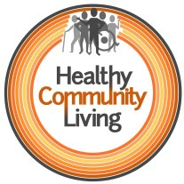 Healthy Community Living logo - orange circles grey people
