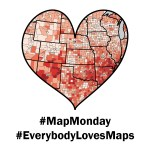 Heart shape of a red map, with #MapMonday and #EverybodyLovesMaps below.