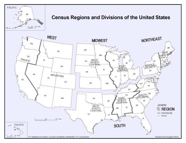 Map showing Census Regions and Divisions of the United States. The West Region is comprised of the Pacific Division (including Washington, Oregon, California, Hawaii and Alaska) and the Mountain Division (which includes Idaho, Montana, Wyoming, Nevada, Utah, Colorado, Arizona and New Mexico). The Midwest Region is comprised of the West North Central Division (which includes North Dakota, South Dakota, Minnesota, Nebraska, Iowa, Kansas and Missouri) and the East North Central Division (which includes Wisconsin, Michigan, Illinois, Indiana and Ohio). The South Region is comprised of the West South Central Division (which includes Oklahoma, Arkansas, Texas and Louisiana), the East South Central Division (which includes Kentucky, Tennessee, Mississippi and Alabama), and the South Atlantic Division (which includes West Virginia, Maryland, Delaware, District of Columbia, Virginia, North Carolina, South Carolina, Georgia and Florida). The Northeast Region is comprised of the Middle Atlantic Division (which includes New York, Pennsylvania and New Jersey), and the New England Division (which includes Maine, New Hampshire, Vermont, Massachusetts, Connecticut and Rhode Island).