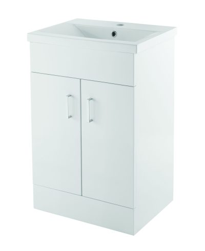 Plazza White 500mm Floor Mounted Unit Only - White