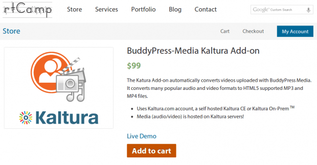 BuddyPress Media Kaltura Addon in Store
